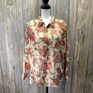 Alfred Dunner Fall print button up blouse
